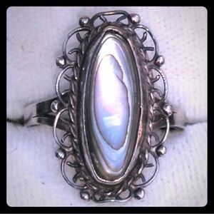 VINTAGE TAXCO Sterling Silver Paua Abalone Ring